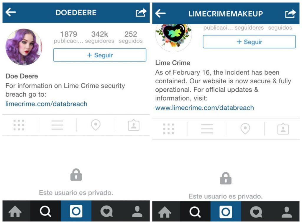 """El martes 10 de marzo, las cuentas de Instagram de Lime Crime y Doe Deere aparecieron privadas. Es el único medio mediante el cual """"informa"""" a sus clientes."""